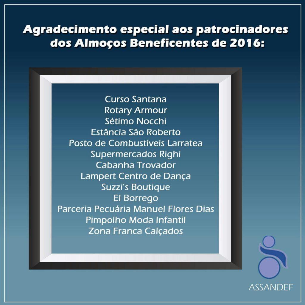 Agradecimento aos patrocinadores ASSANDEF 2017